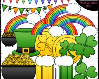 St. Patrick's Day Accents Clip Art and B&W Set