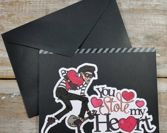 Black Valentine Card - You Stole My Heart - Black Greeting Cards - Dirty Valentine Card - Naughty Valentine Card - Black Holiday Cards