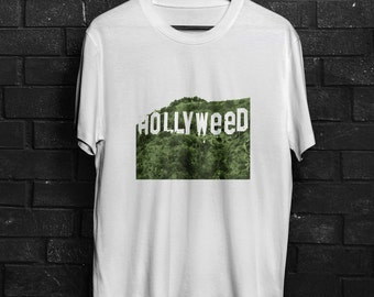 Hollyweed Hollywood sign Los Angeles weed marihuana swag dope funny T-Shirt
