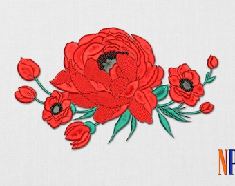INSTANT DOWNLOAD - Poppy Flowers machine embroidery design. Flowers embroidery. Flower. Plants embroidery. Embroidery file