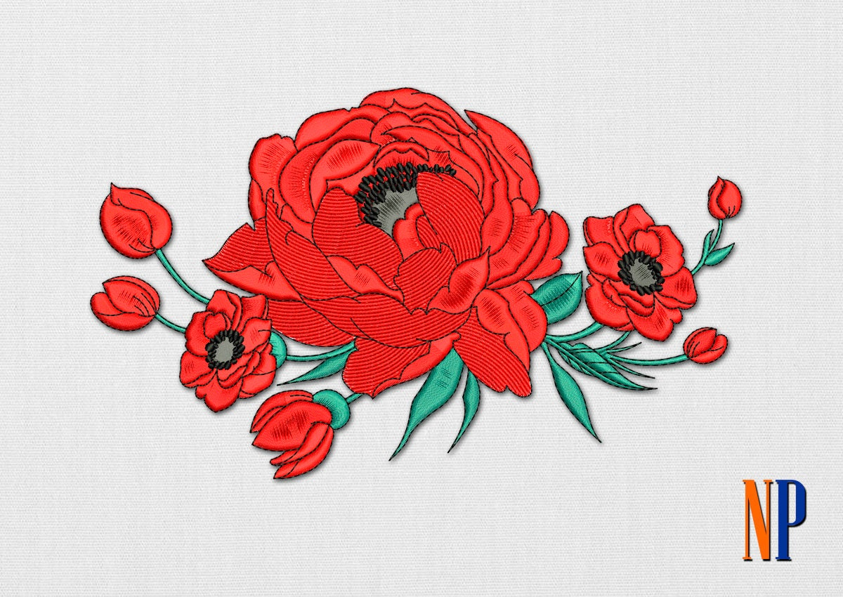 Instant download poppy flowers machine embroidery design