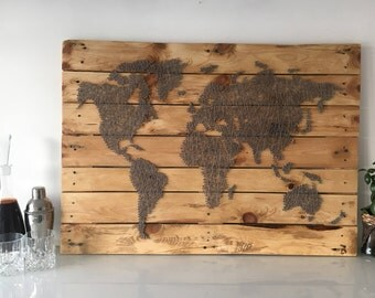 World Map - Grey Silver - String Art -Reclaimed Pallet Wood Wall Art - Handmade