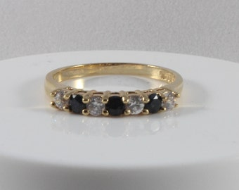 Black Sapphire White Cz Gold Tone Ring Size 8