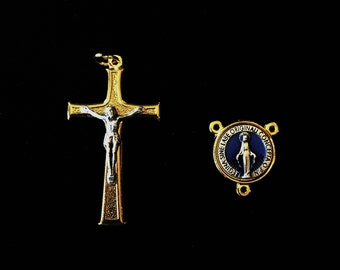 Two Tone Crucifix and Miraculous Medal Blue Enamel Centerpiece Set Gold Silver Two Tone Catholic Rosary Findings