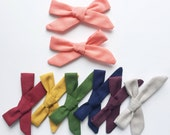 Pigtail Set - School Girl Style Hair Bows - FALL Solids