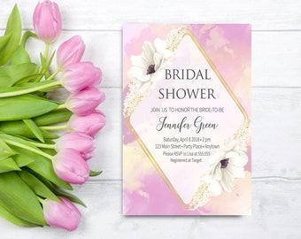 Floral Pink Bridal Shower Invitation Printable, Pink Watercolor Bridal Shower Invitation Printable, Boho Bridal Shower Invitation Digital