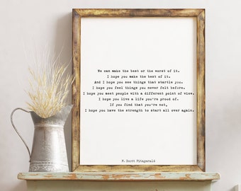 F Scott Fitzgerald quote inspirational print, art for kid's room, inspirational gift, master bedroom decor typography quote print