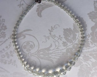 Vintage 1930s graduated crystal clear glass bead necklace; evening; costume jewellery