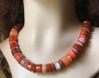 Carnelian Agate/22k Gold Filled Necklace. Voice Necklace. Healing Natural Gemstone Necklace.