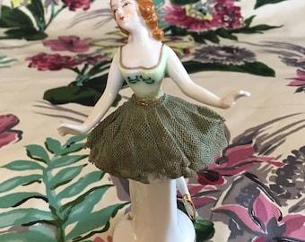 Vintage hard lace porcelain ballerina figurine