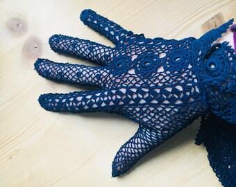 Dark blue retro gloves