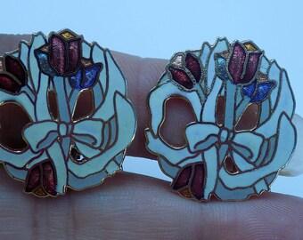 Vintage Cloisonne Enamel Floral Clip Earrings
