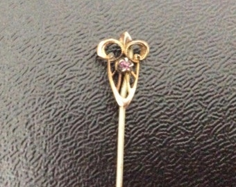 Antique  Art Nouveau Pin / Hat or Stick Pin / Gold tone / Purple Stone