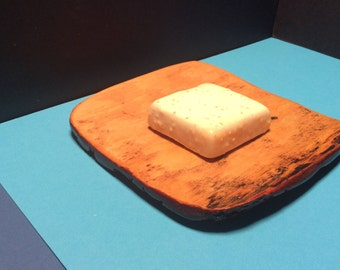 Wooden SOAP dish and white pine bark