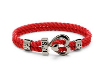 Heart Bracelet Black Silver with Red Marine Rope (Free shipping)