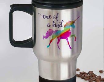 Unicorn Travel Mug, Cute Unicorn Mug, Rainbow Unicorn Stainless Steel Mug, Unique Unicorn Mug, Unicorn Gift for Her, Magical Unicorn Gift,
