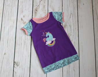 Grow with me children's tunic, cowl tunic dress for kids, grow tunic, unicorn on a rainbow, purple, pink, gem, wish, grow fonder