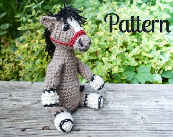 PATTERN Tony the Crochet Horse - Amigurumi Horse - Crocheted Horse - Horse Toy - Beginner Friendly - How-To - Instructions - Plush Horse