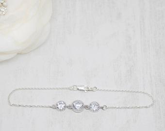 Delicate bracelet 925 Silver cubic zirconia wedding Bridal jewelry