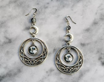 earrings celtic moon knot silver goddess wicca pagan occult esoteric gothic magic witch witchcraft witchy dark boho