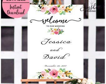 Welcome To Our Wedding, Editable Wedding Signs, Fall Welcome Wedding Sign, Burgundy Welcome Sign, Marsala, Printable Welcome Sign, Template