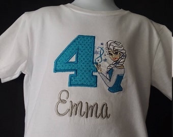 Personalized Embroidered Birthday Frozen Elsa Shirt Name Age Number