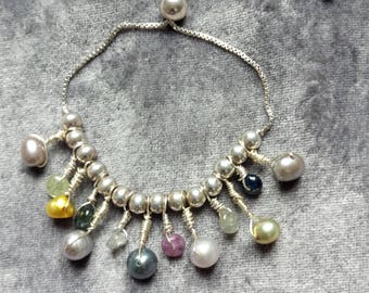 Pearl and Sapphire Singing Softly Bracelet