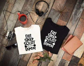 tshirt eat sleep squat, gift, birthday, him, hers, gift for her,creative, Funny