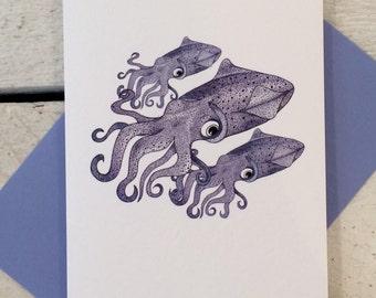 Squid card, Squid birthday card, Greeting card, Hand drawn card, Nautical print, Coastal art, Squid print card, Squid art, Squid print