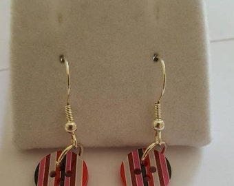 Stripe Button Dangle Earrings, Button Jewellery