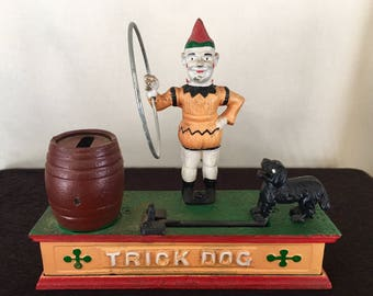 TRICK DOG Cast Iron Mechanical Vintage Collectible Coin Bank, Ca. 1950s, GREAT patina!  Coin bank, great staging for kids room!