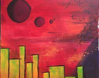 City of Stars - Acrylics on 10x10 Canvas