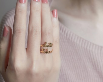 Tiny Name Ring - Gold Name Ring - Ring with Name - Stacking Ring - Personzalized Gift - Bridesmaid Gift