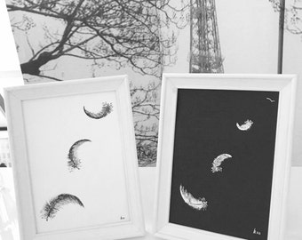 Pen and Ink Feather Illustrations: Feather Drawings, Original Small Black & White, Two Feathers in White Wood Frames, Feather Art Gift