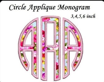 Circle Font Applique Embroidery Large Font -Instant Download 3,4,5,6 inch monogram