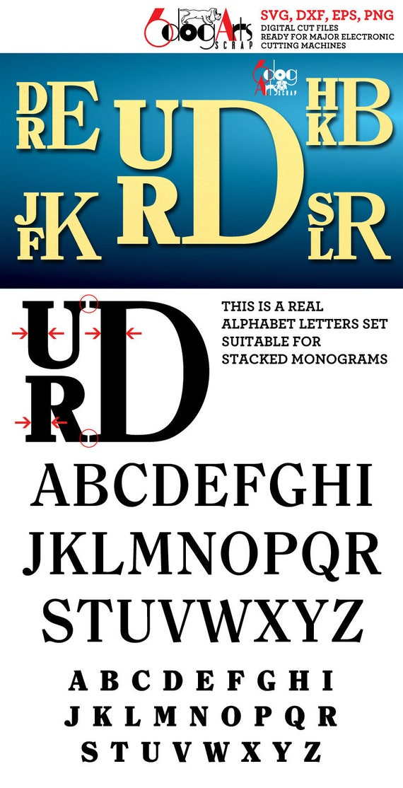 Stacked Alphabet Letters Svg Dxf Vector Cut Files Monogram