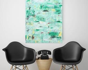 Original Abstract Painting Wall Art Modern Art Green Painting Contemporary Canvas Painting Acrylic Mixed Media