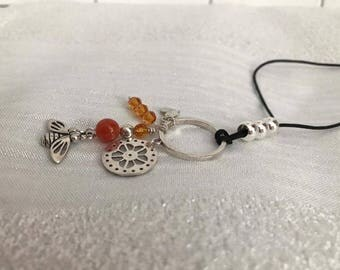 Necklace on adjustable cord with bee pendant, 925 sterling silver, Carnelian and Swarovski Crystal