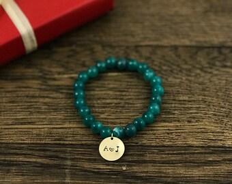 Dainty Initial Bracelet | Anniversary Couples Gift, Initial Bracelet, Custom Initial Bracelet, Initial Charm Bracelet,