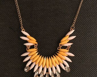 Yellow and White Bib Necklace