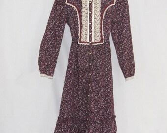 1970s Girl Jeunes Filles Gunne Sax Dress Purple Prairie Colonial