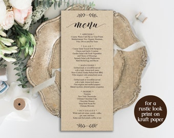 Wedding Menu Template, Printable Menu, Wedding Menu Sign, Dinner Menu, Editable Menu, Instant Download, Calligraphy Menu, Menu Card, BD6039