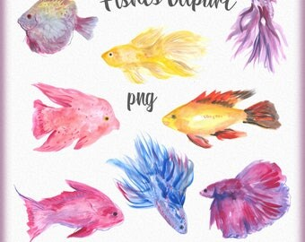 Watercolor Fishes Clipart, Underwater world clipart, Fishes clip art, Under the sea, Tropical fish clipart, Beautiful fishes, Aquarium fish