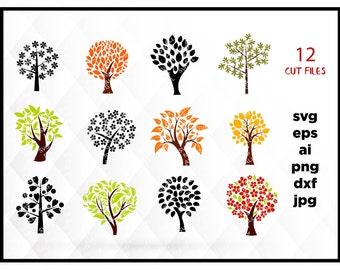 Tree SVG File, Tree Clipart, Tree Cut File, Tree Dxf, Tree Cutting File, Tree Cricut, Tree Cameo, Tree Silhouette Svg, Tree Vector Svg