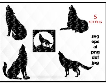 Howling Wolf, Silhouettes SVG cutting Files, DYI Howling Wolf, WOLF Cut files, wolf svg & dxf, moon svg, howling svg, adventure