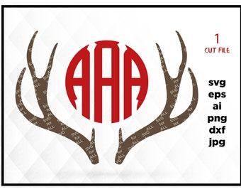 Deer Antler monogram, Antlers SVG, Antler monogram frame, Deer Antlers, Antlers Cutting, Design for Cricut or Silhouette, Instant Download
