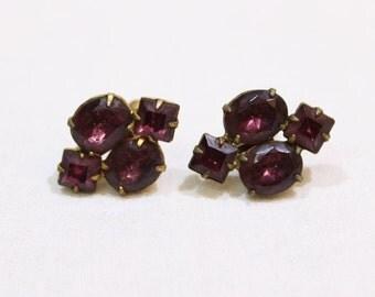 Vintage Purple Rhinestone Screw Back Earrings, Clip On Earrings, Costume Jewelry, Vintage Earrings, Bridal, Wedding