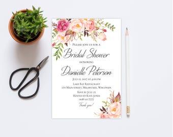 Bridal Shower invitation Editable invite template Printable DIY PDF Floral chic design 5x7 Inches Instant download