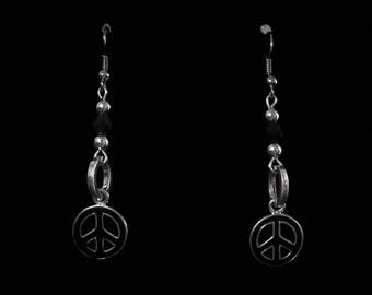 Earrings peace and love