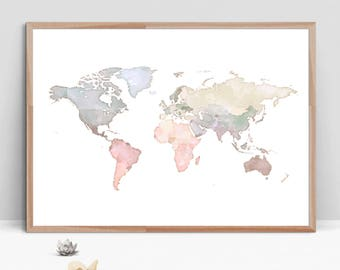 WATERCOLOR MAP of the World Instant Download, Large Blue Beige World Map, World Map Wall Art, Color Map Print, World Map Watercolor